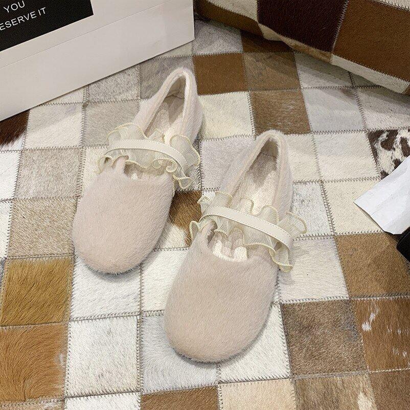 Giày Da Đanh Lông Bèo Nhún Ren Bông Giày Mùa Đông Ladies Giày Vải Giày Lông Thú Sang Trọng Căn Hộ 2021 giá rẻ