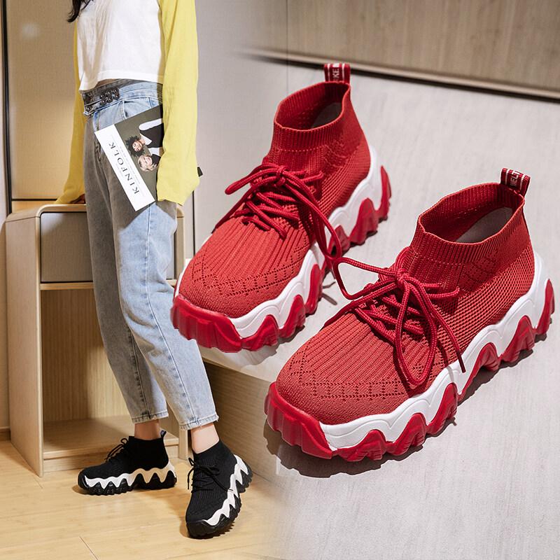 Nữ Thể Thao Bay Dệt Giày Tất Cao Cấp Giày Nữ 2020 Mùa Thu Hàn Quốc Mới Thun Co Giãn Dày Dặn -Giày Nữ Cao-TOP Sneakers Nữ Hip Hop Của Triều Giày Không Thể Rẻ Hơn tại Lazada