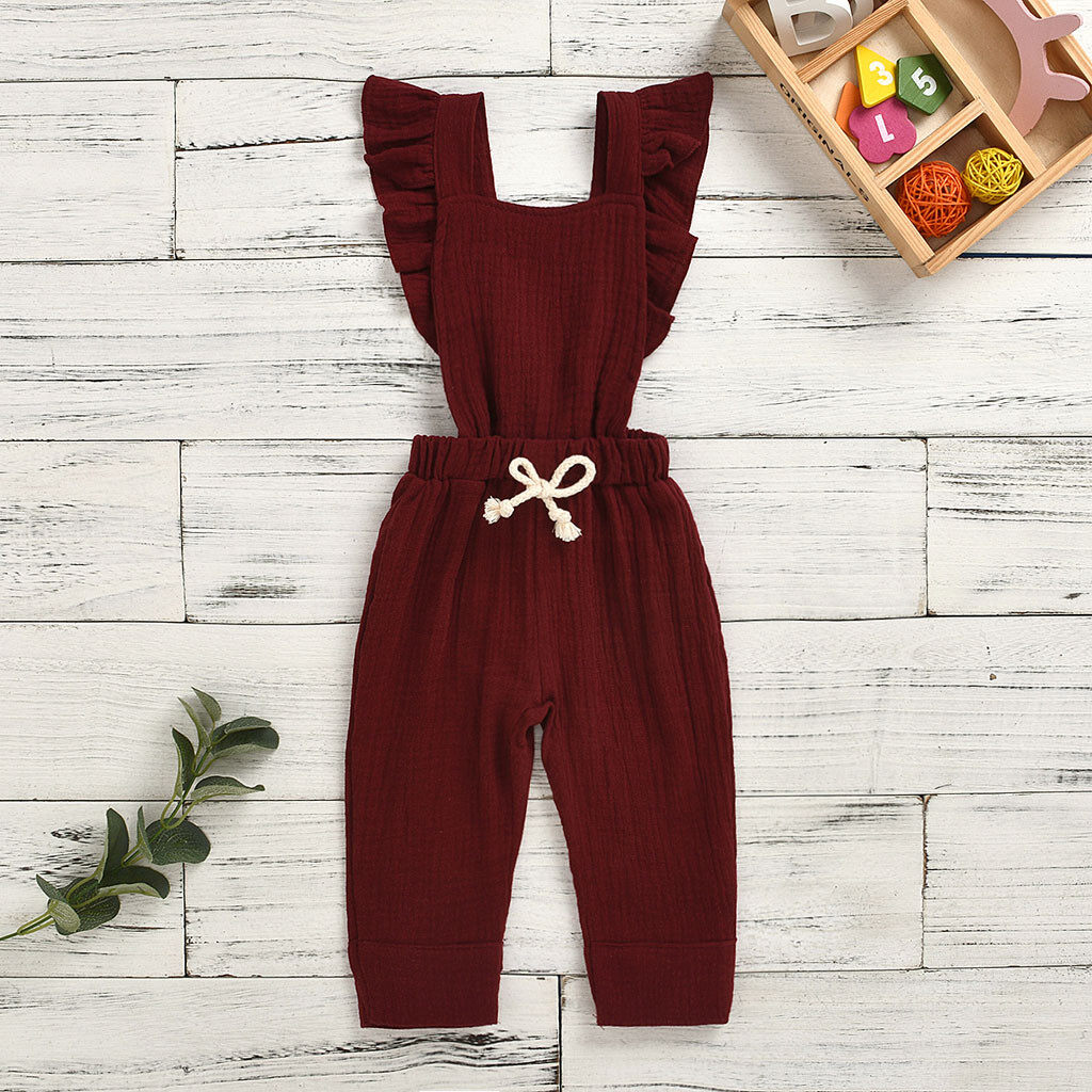 Baby Cutie Infant Girl 1Pc Cotton Jumpsuit Wide Leg Pants Toddler Solid Color Ruffles Sleeveless Backless Overalls