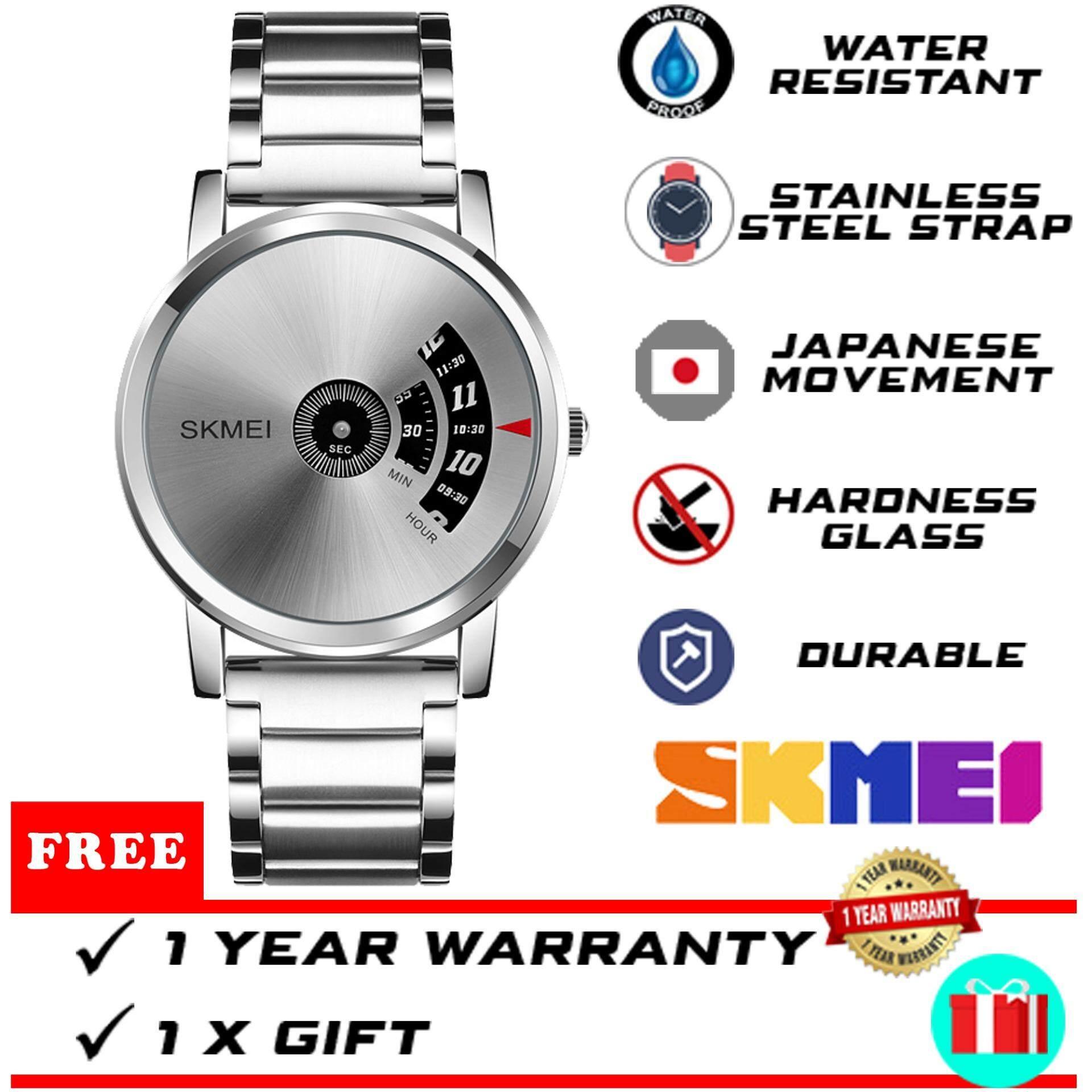 Original Brand SKMEI WTH-402 Fashion IP Black Plating Luxury Stainless Steel Waterproof Men Watch [FREE GIFT & READY STOCK] Malaysia