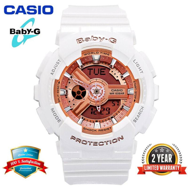 (hot) Original Baby G BA-110-7A1 Womens Sports Watch Double 200m Waterproof and Shock proof World Girls Warranty Two Years BA110/BA-110 Rose Gold and White free shipping2020 Malaysia