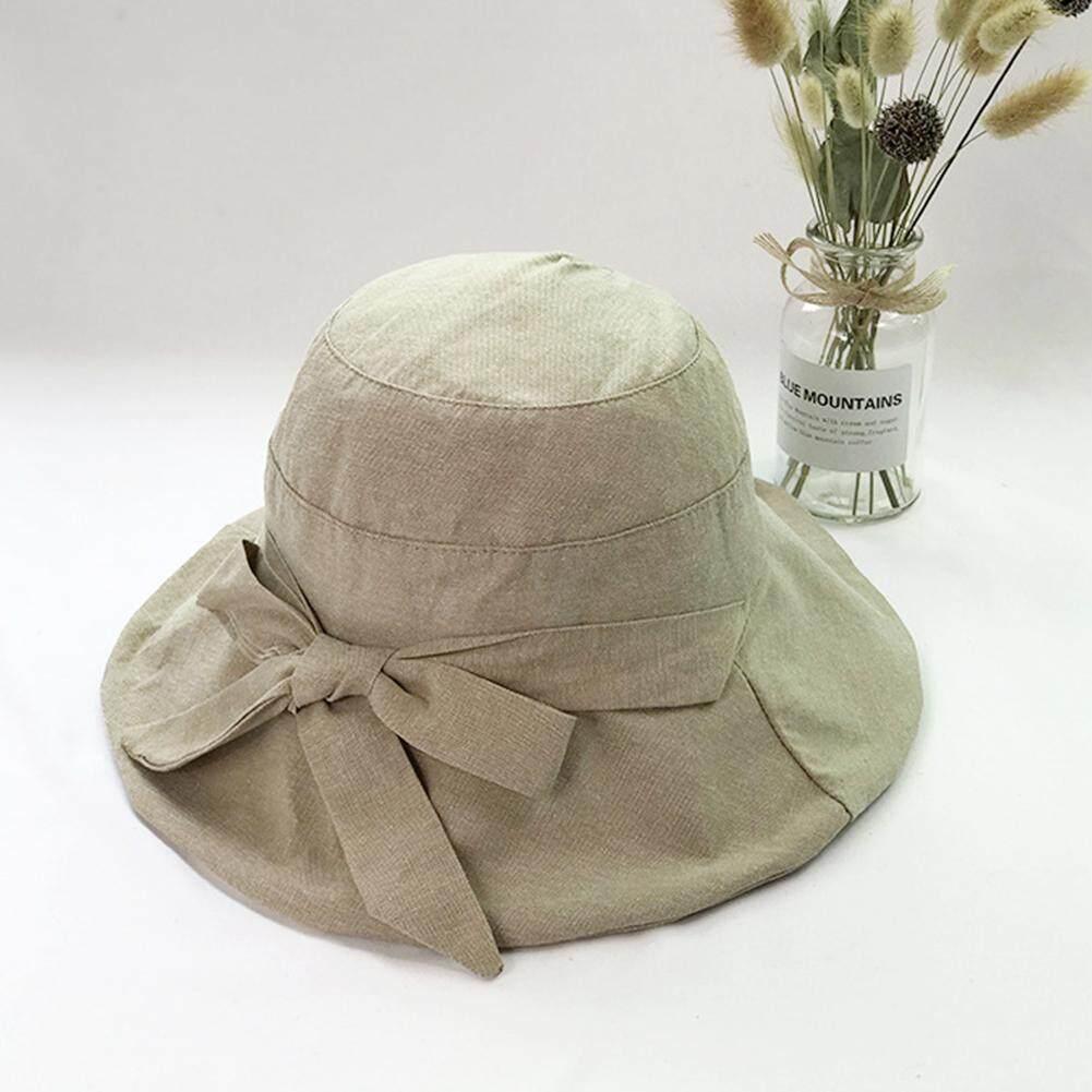 092917c4317c07 Sun Women Hats Summer Bucket Bowknot Packable Wide Brim Cotton Cloth Travel