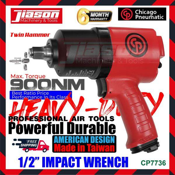 CHICAGO PNEUMATIC CP7736 1/2 900N.M Air Impact Wrench Twin Hammer Mechanism