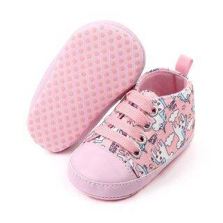Giày thể thao in hình kỳ lân làm bằng vải bông mềm dành cho bé gái sơ sinh mới tập đi - INTL thumbnail