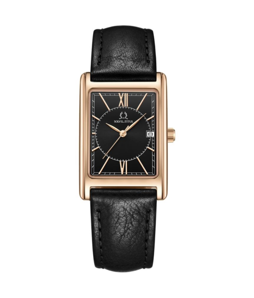 Solvil et Titus W06-03170-008 Womens Quartz Analogue Watch in Black Dial and Leather Strap Malaysia