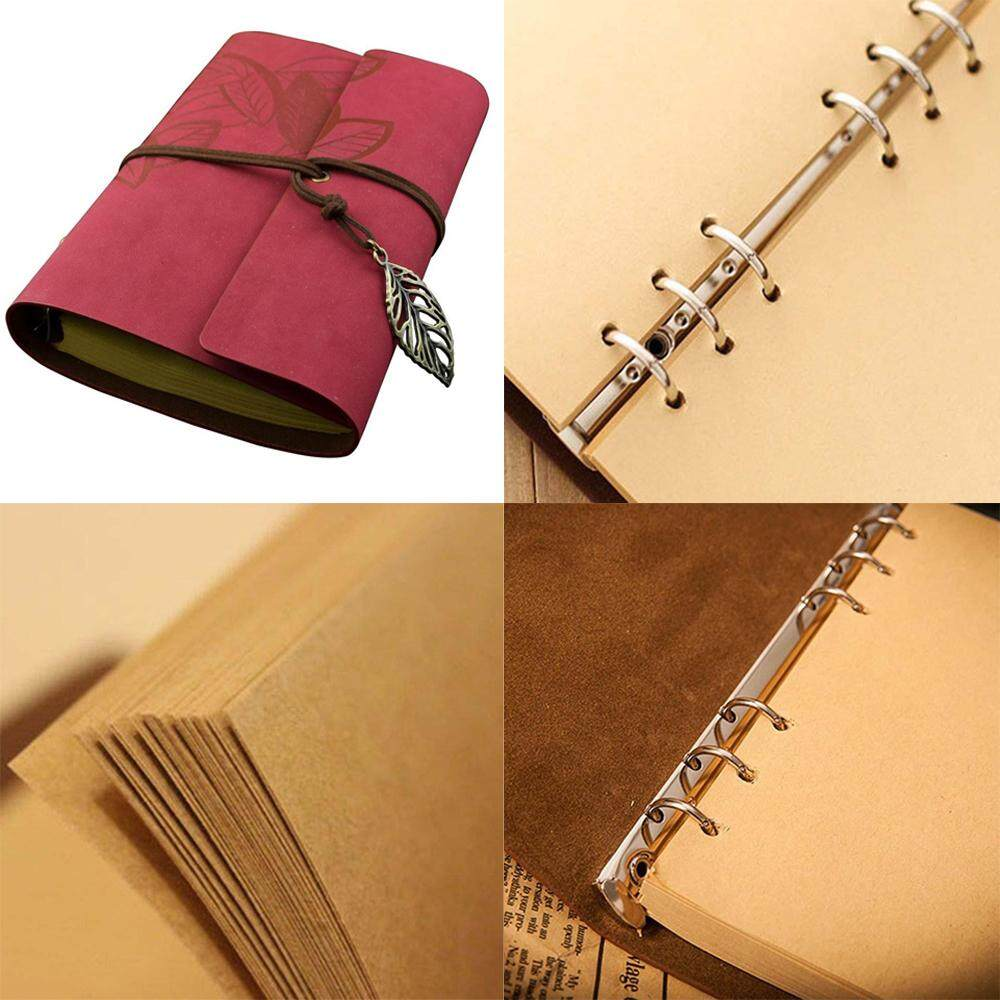 170 Pages Vintage Style Leaf Leaves Pattern Pu Cover Loose-Leaf String Bound Blank Notebook Notepad Travel Journal Diary Jotter - Size L (red) By Chaoshihui.