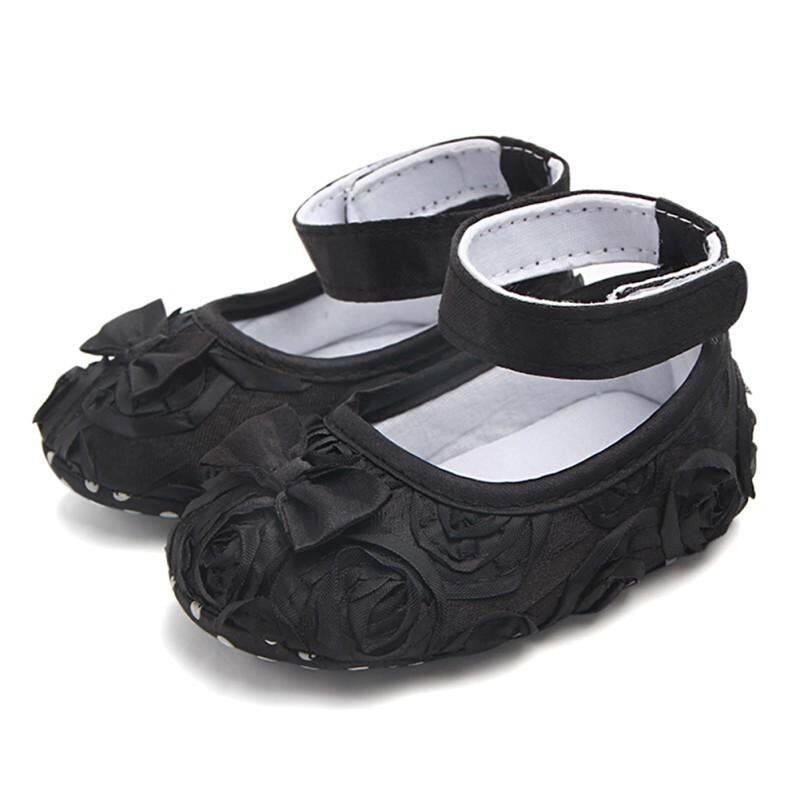Newborn Baby Girl Crib Shoes Toddler Soft Sole Rose Flower Princess Shoes 0-24M