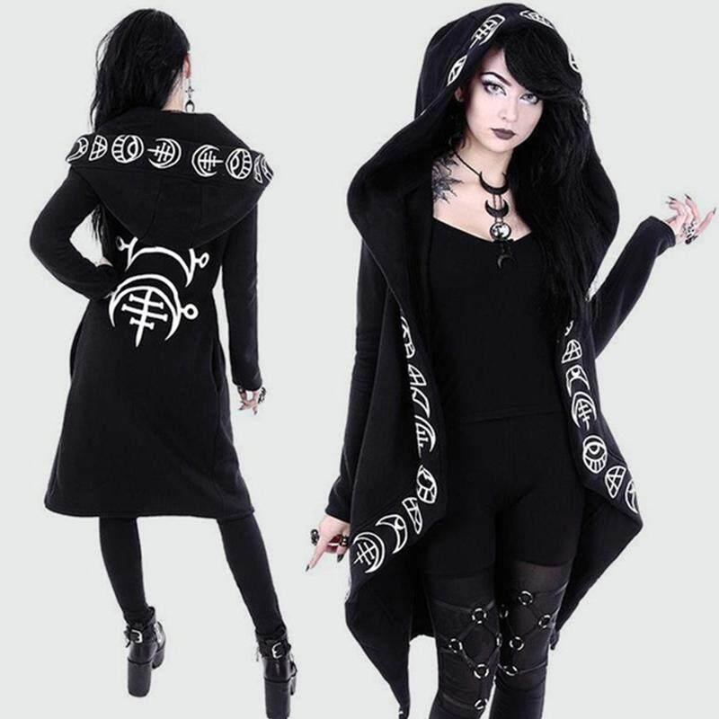 c6229b0730 Women Gothic Chic Hooded Sweatshirt Plus Size Cotton Loose Moon Plain Print  Punk Hoodie Irregular Cardigan