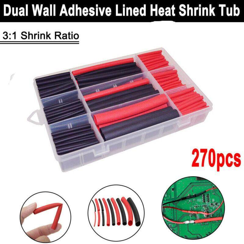 ToolStar 270pcs/set 3:1 Double Wall Heat Shrinkable Tube Sleeve Winding Wire 6 Size Waterproof