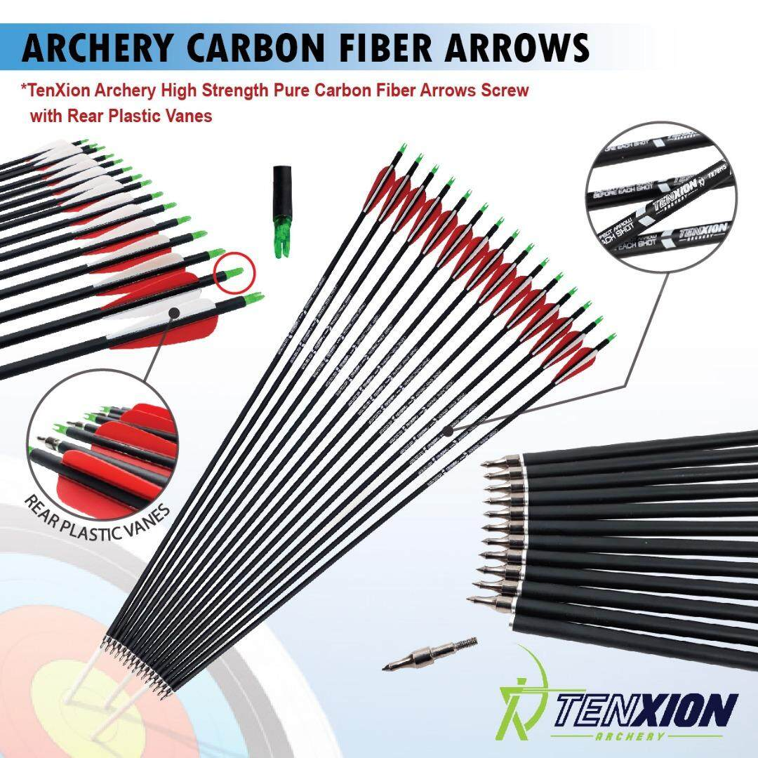 12 Pcs Tenxion High Carbon Fiber Premium Carbon Arrows Archery Sp500 Arrow Professional Tournament By Imart88.com.