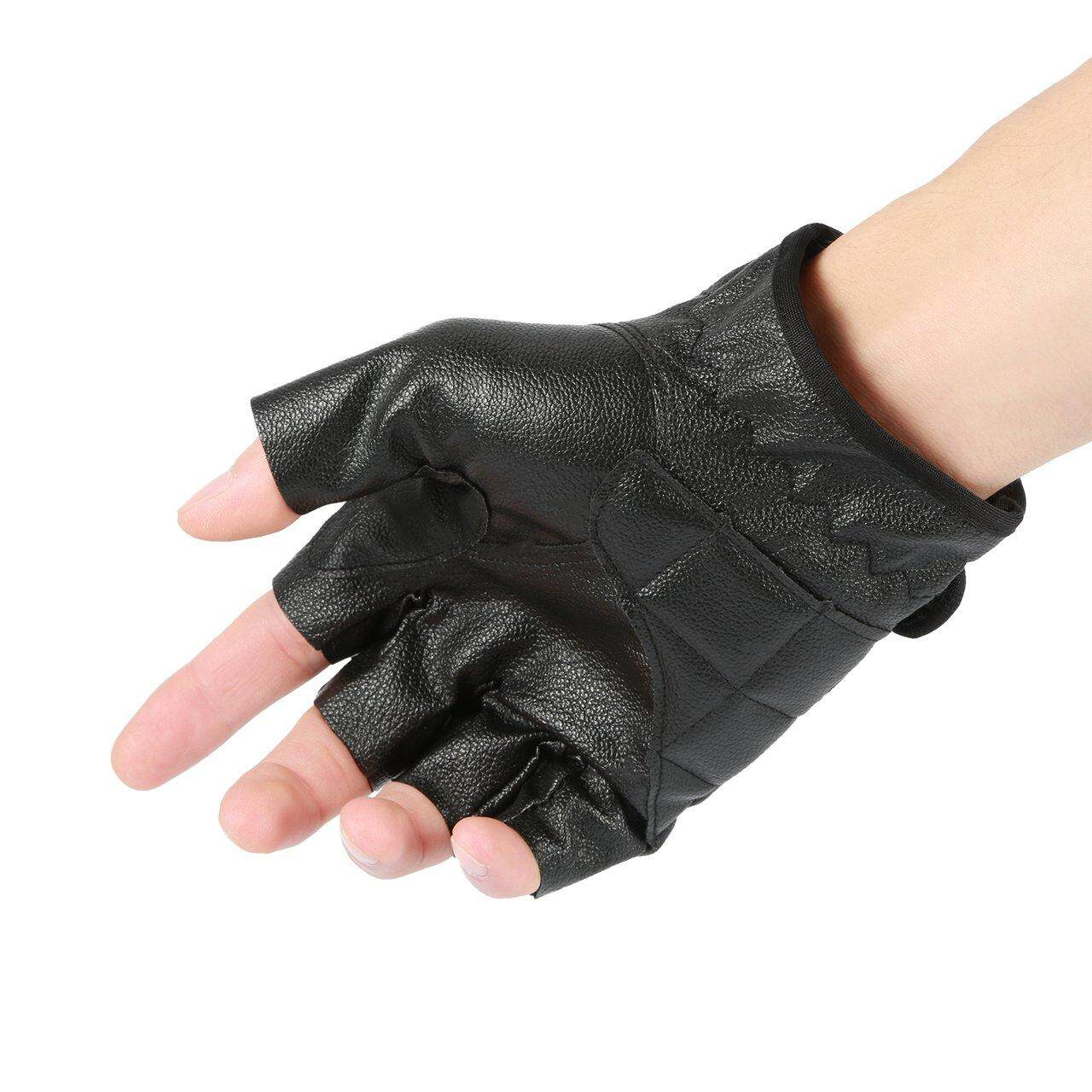 MakeAC Half Finger Gloves PU Leather Men Gloves For Tactical Military Exercise Training Sports Motorcycle Ridding