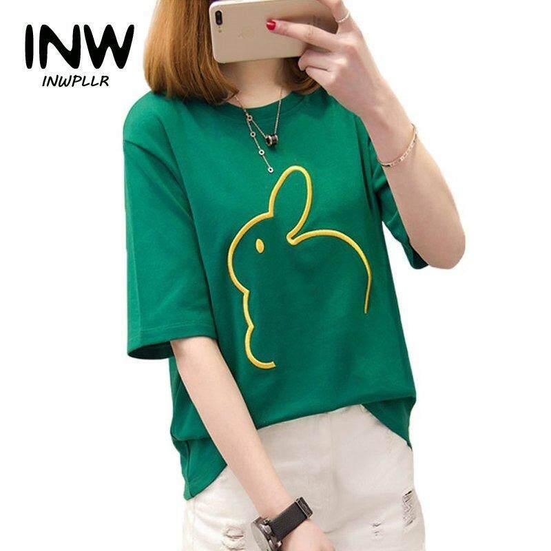b7f7735959 INWPLLR New Fashion Funny Tshirt Rabbit Embroidery Tops Korean Style  Short-sleeved Women T-