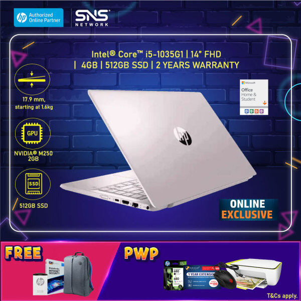 [ONLINE EXCLUSIVE] NEW HP Pavilion Laptop 14-ce3075TX /14-ce3079TX 14 FHD (i5-1035G1, 512GB SSD, 8GB, NVIDIA MX250 2GB, W10H)-(Gold/Pink) [FREE] HP Backpack + Microsoft Office Home & Student+HP V222W 32GB USB2.0 Metal Flash Drive+1Yr Bitdefender+Voucher* Malaysia