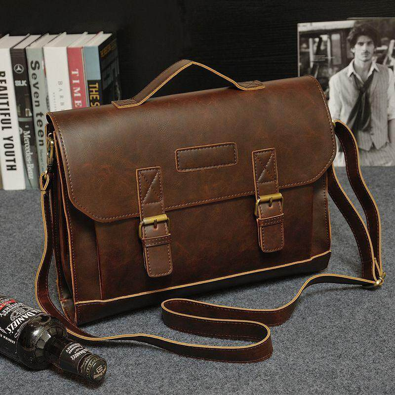 Men/'s Leather Business Work Briefcase Handbag Shoulder Messenger Laptop Tote Bag