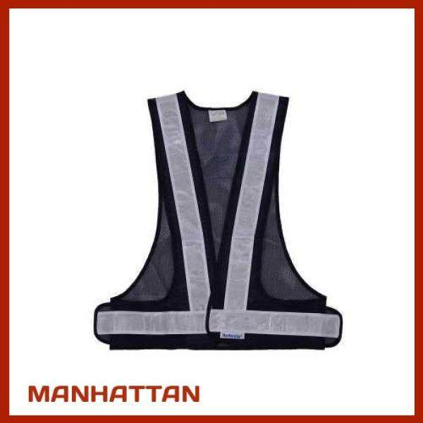 [ MANHATTAN ] SFVest High Visibility Reflective Vest Reflective Safety Strap Vests Workwear Security Working Clothes Day Night Cycling Running Traffic Warning Safety Waistcoat (Black & White)