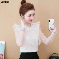 Áo voan nữ phối ren nữ tính thanh lịch phong cách Hàn Quốc AFEG