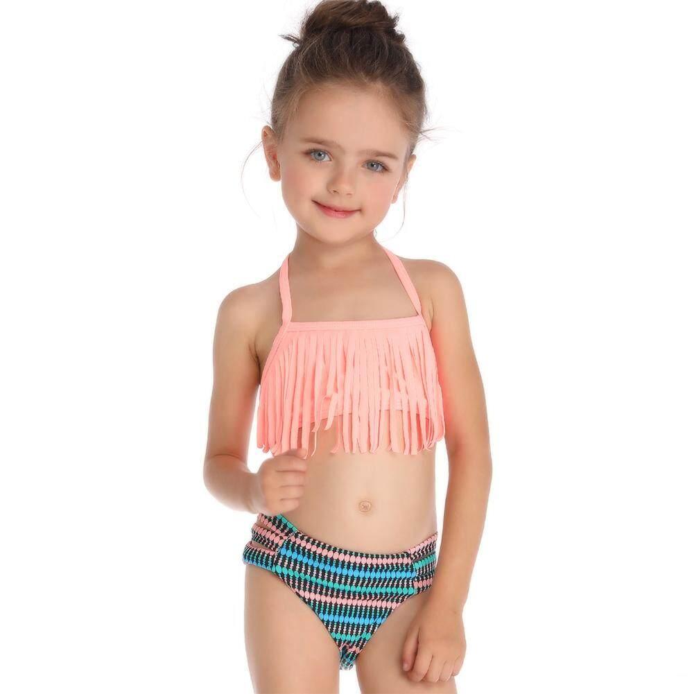 Xiziy 2pcs/set Parent-Child Tassel Swimsuit Set Holiday Beach Outfits Fashion Accs By Xiziy.