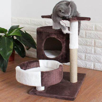 【msia Stock Sales】skiiddii Big Cat Tree Play Bed Scratcher House Toy For Kitten (brown Colour) By Shopwithjoy.