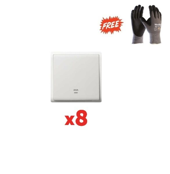 1 box (8pcs) - Schneider Pieno 20A 1 Gang Double Pole Switch with Neon, White - (Free ATG PPE safety glove L Size)