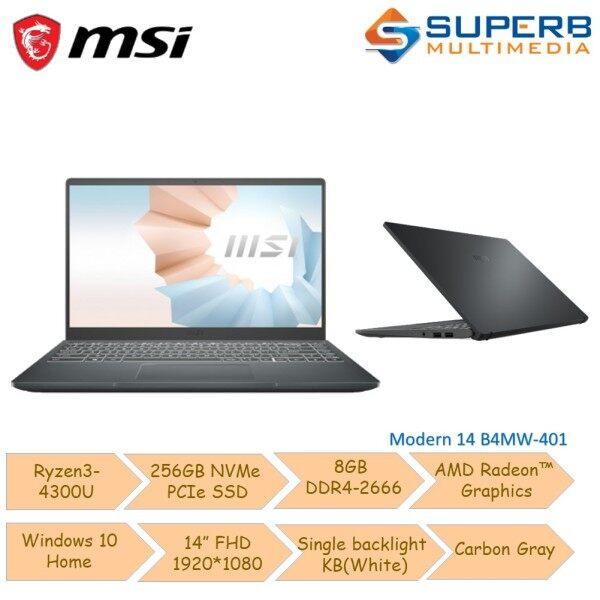 MSI Modern 14 B4MW-401 [Ryzen3-4300U/256GB SSD/8GB DDR4/AMD Radeon] Notebook Malaysia