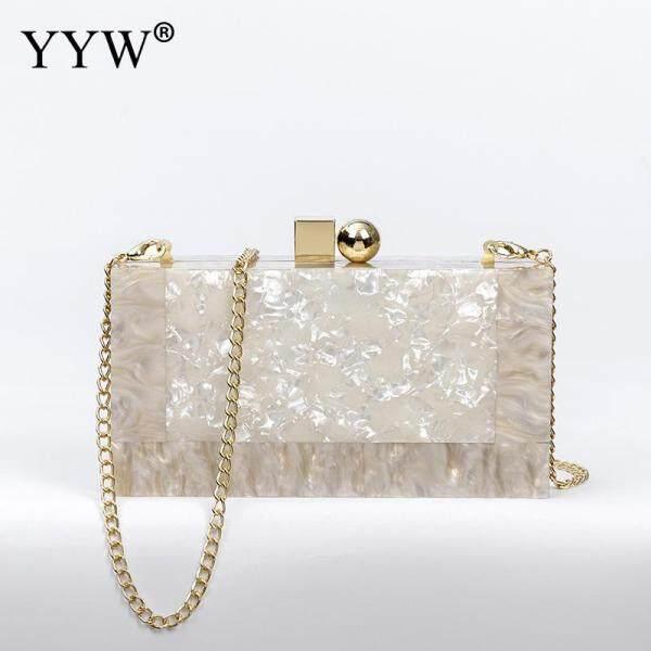 YYW Marbling white Acrylic Purse Box Clutch Luxury Handbags Women Bgas Designer Messenger Beach Travel Summer Acrylic Hand Bags