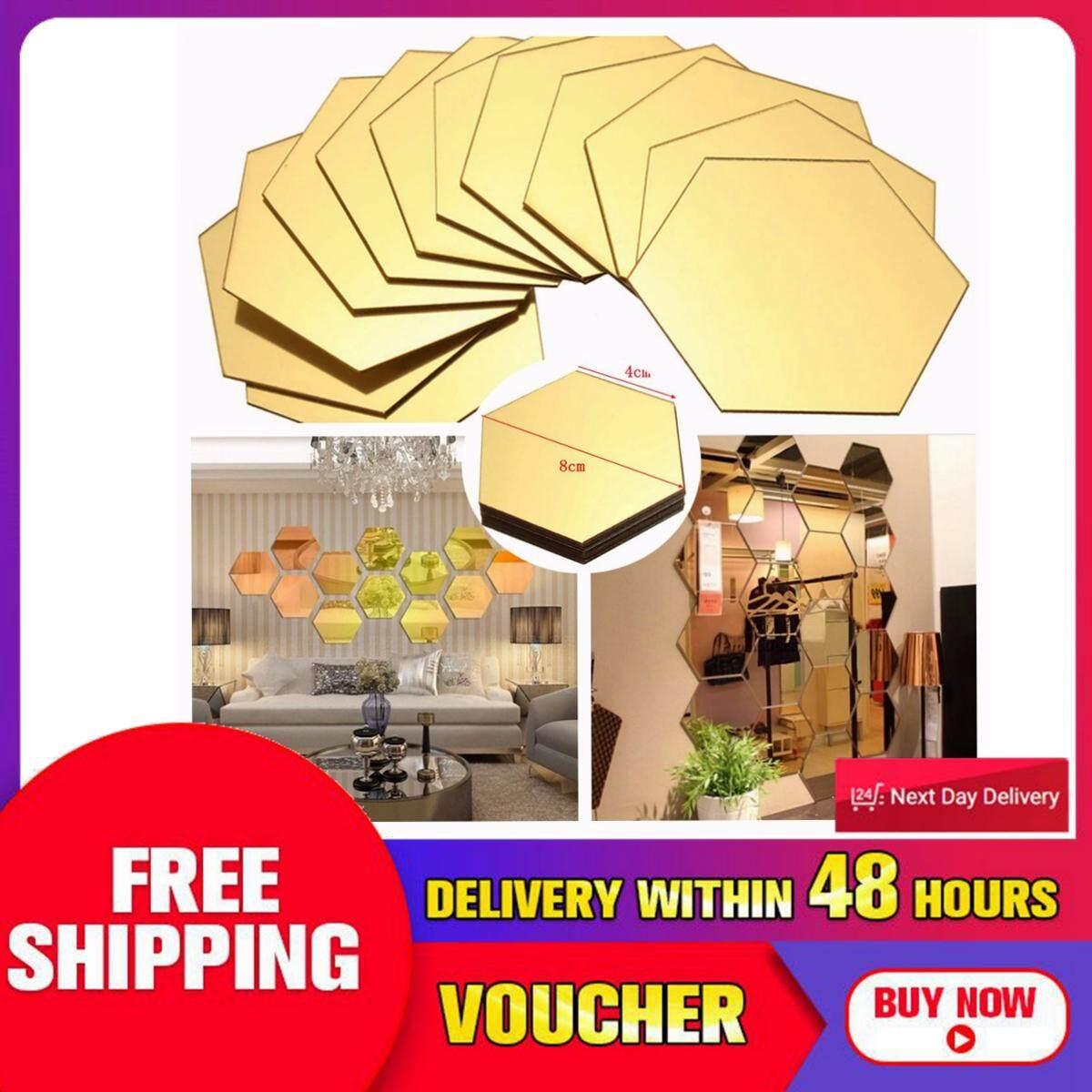 【Free Vận Chuyển + Đèn Flash Deal】12pcs 3D Gương Lục Giác Nhựa Vinyl Có Thể Tháo ra Dán Tường Decal Trang Trí Nhà Nghệ Thuật DIY
