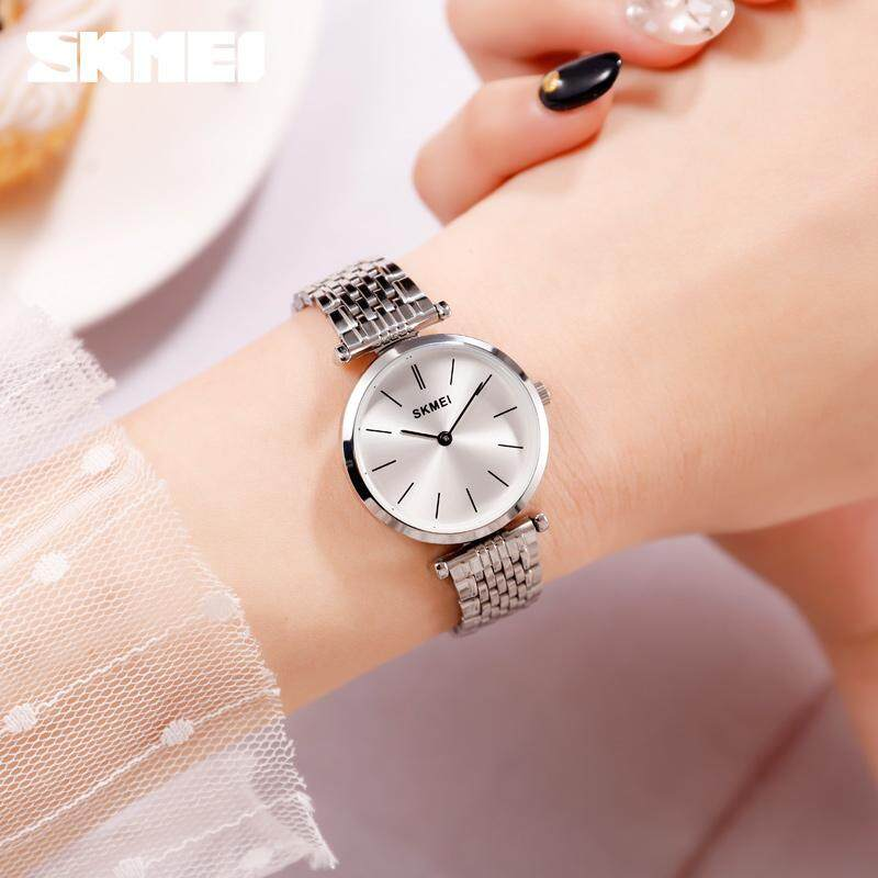 SKMEI Fashion Casual Quartz Women Watches 30m Waterproof Stainless Steel Strap Ladies Dress Watches Small Dial