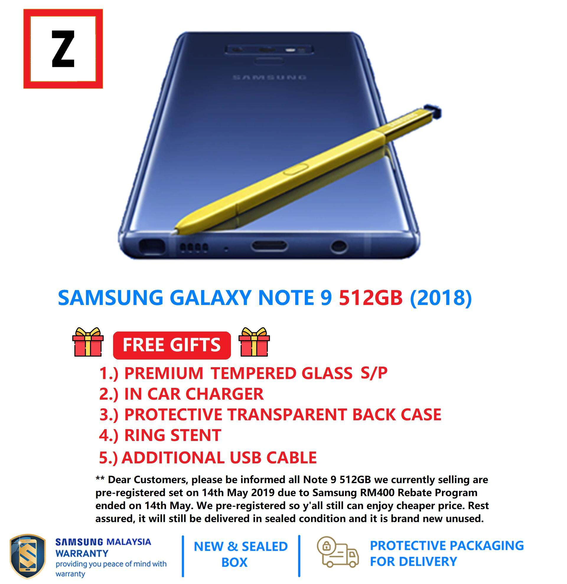 [FREE SHIPPING & FREE GIFTS] SAMSUNG GALAXY NOTE 9 512GB [DUAL SIM / 8GB  RAM / 512GB / 4G LTE / IP68] [PRE-REGISTERED ON 14TH MAY 2019] (100%  SAMSUNG