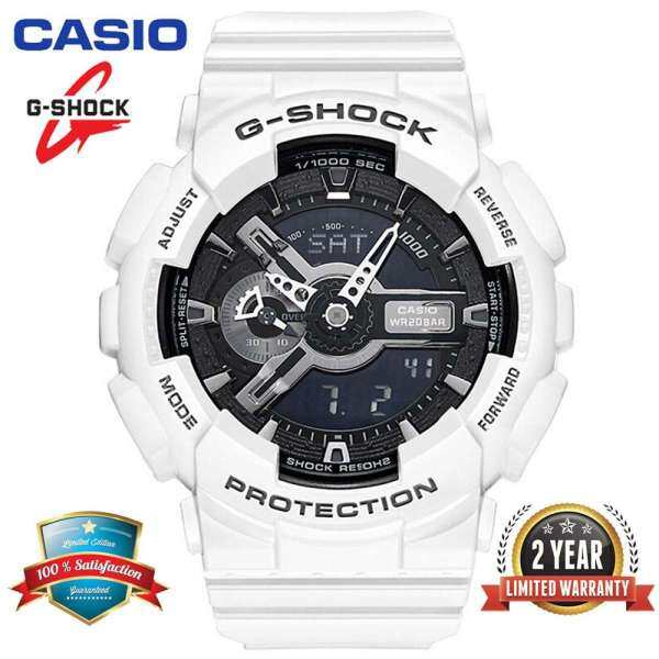 Original G Shock GA110 Men Sport Watch Dual Time Display 200M Water Resistant Shockproof and Waterproof World Time LED Auto Light Sports Wrist Watches with 2 Year Warranty GA-110GW-7A White Black (Ready Stock) Malaysia