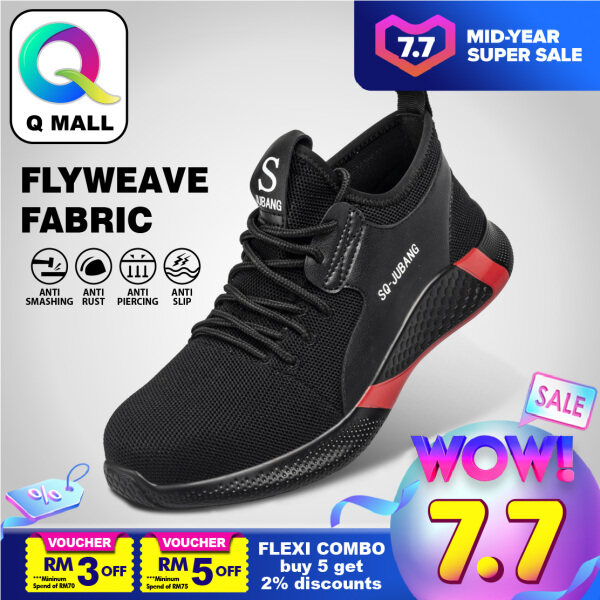 Q MALL SAFETY SHOES Steel Toe Cap Mid Sole Medium Cut (Flyweave Fabric) - 666 (Black)