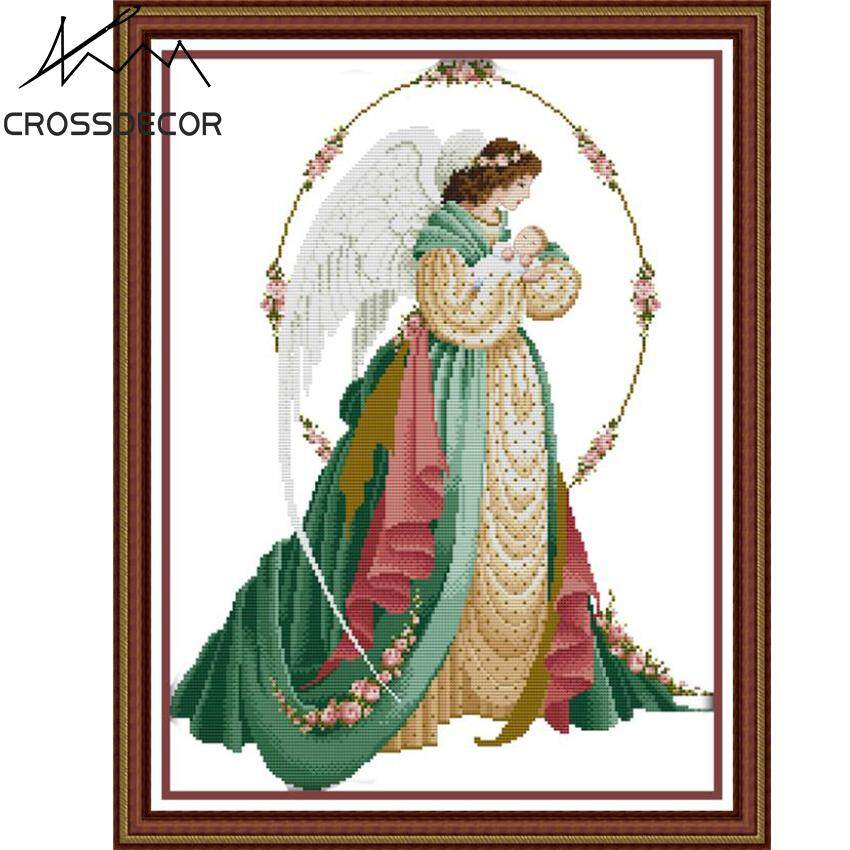 DIY Pre-printed Cross Stitch Complete Set Angel Mother and Son 2 Pattern Stamped Cotton Thread Handmade Embroidery Needlework DMC Home Living Room Decor