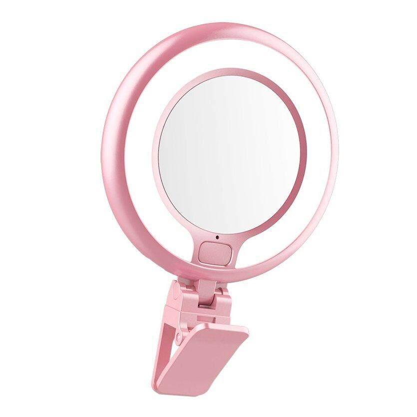 OH Có Thể Điều Chỉnh Kẹp ĐÈN LED Selfie Đẹp Đèn Máy Ảnh Điện Thoại Sạc USB Có Gương