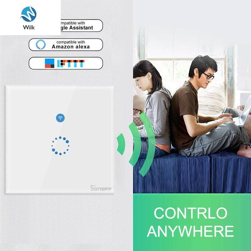 SONOFF T4EU1C Wifi Wall Touch Switch 1 Gang No Neutral Wire Required Switches Smart Single Wire Wall Switch Works With Alexa