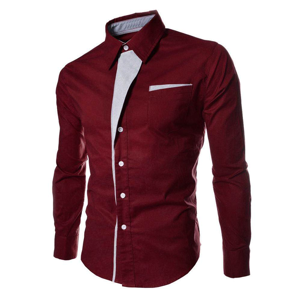 0f9f64229e90e Mens Luxury Polo Shirt Long Sleeve Collared Top Casual Slim Fit Blouse