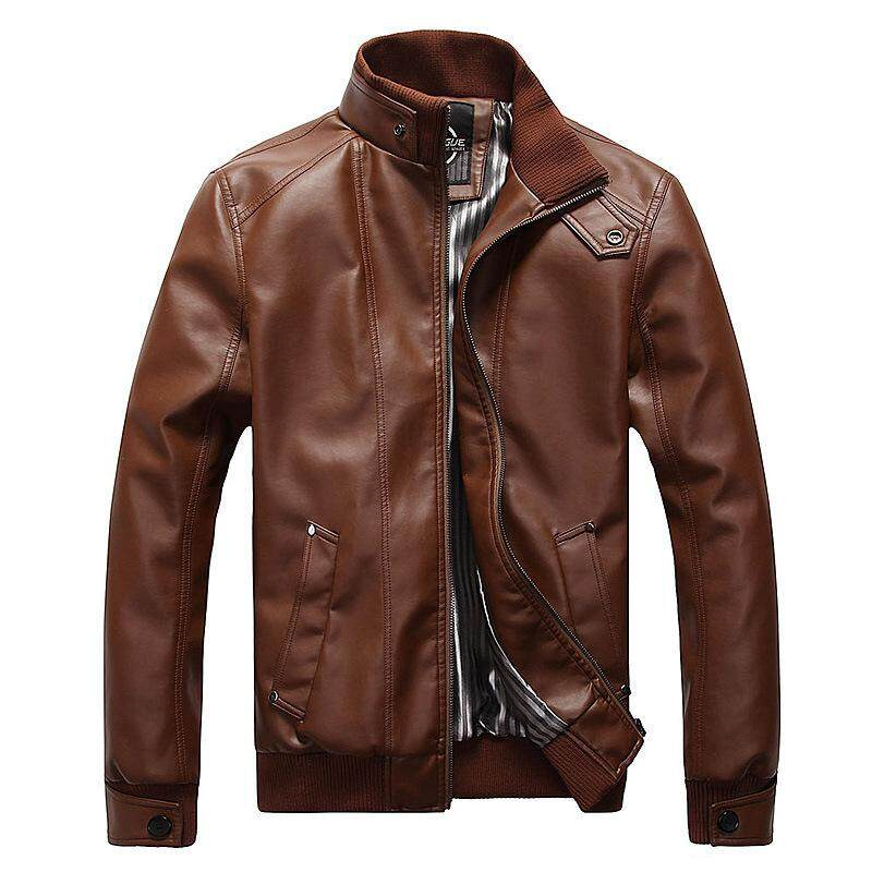 New Fashion Motorcycle Leather Jackets Men Leather Coat Casual Slim Coats With Zipper Man Outerwear Stand Collar Jackets Jaqueta By Buluolandi.