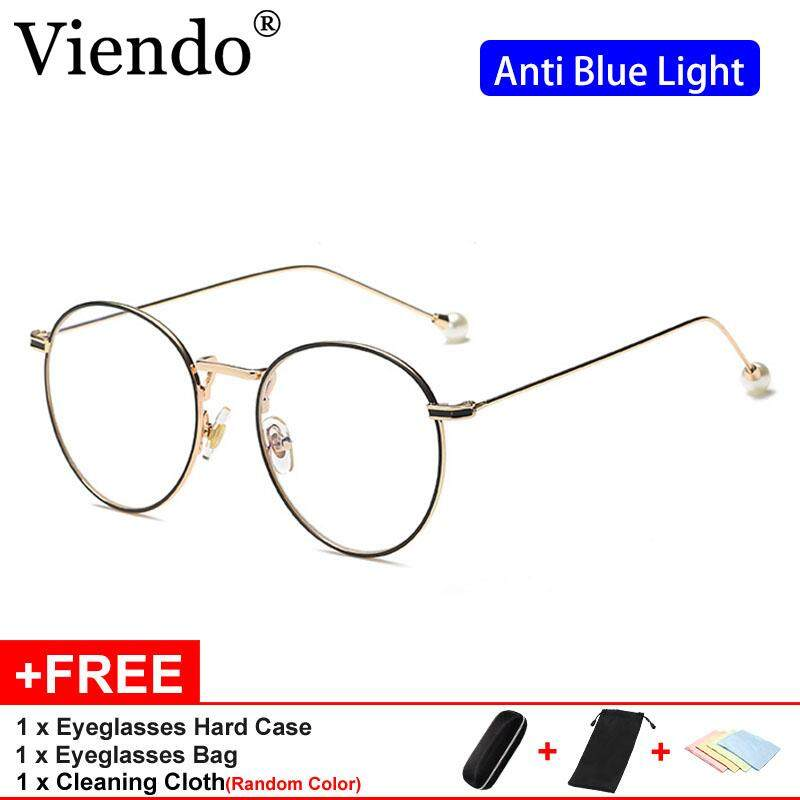 04563f42d685 Viendo Korea Style Round Frame Spectacles For Women With Pearl Legs Anti  Blue Light Radiation Computer