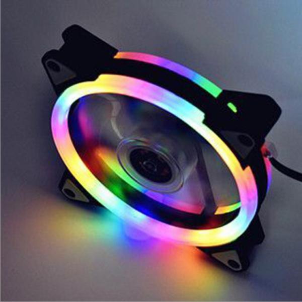 ✣ Computer case desktop fan eclipse double aperture 12 cm RGB colorful aurora dazzle colour radiator mute water-cooling Malaysia
