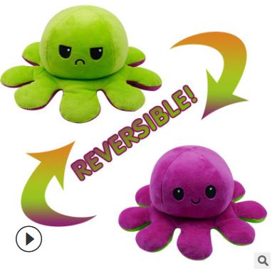 Reversible Flip Octopus Nhồi Bông Búp Bê Vải Nhung Mô Phỏng Mềm Reversible Thú Nhồi Bông Màu Chương Búp Bê Vải Nhung Đầy Sang Trọng Đồ Chơi Trẻ Em