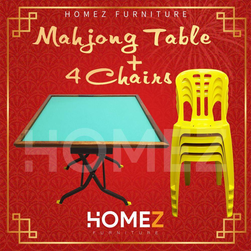 3Ft x 3Ft 3V Square Foldable Mahjong Table + 3V High Quality Stackable Plastic Chair LA-701Y- 4 Pcs