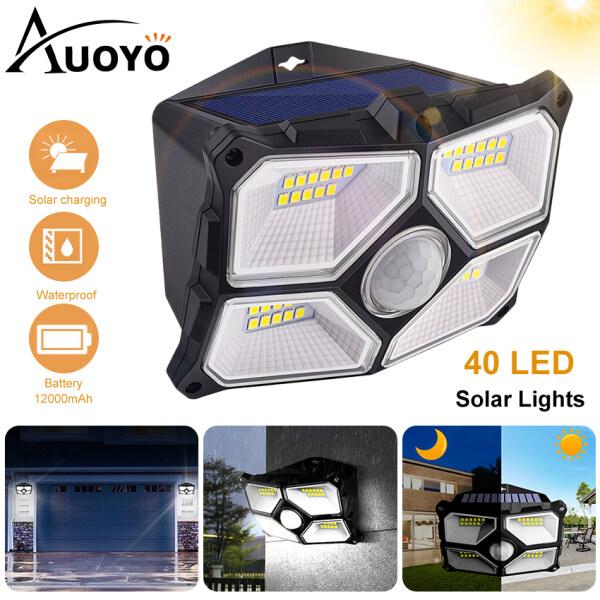 Auoyo Đèn LED Năng Lượng Mặt Trời Lamps cảm biến chuyển động ngoài trời Lamp IP65 chuẩn chống nước góc quay rộng 270°đèn an ninh gắn tường với 2 chế độ cho sân vườn 40 LED Solar Light Outdoor Lighting Wall Lights
