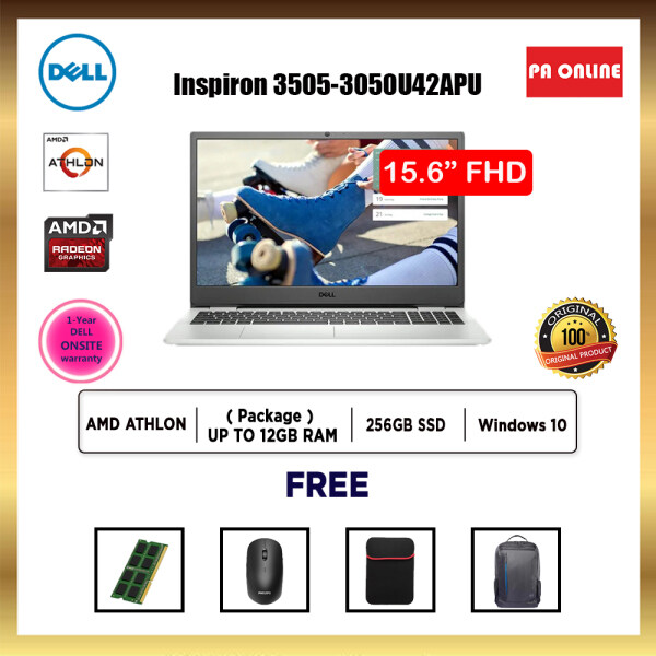 Dell Inspiron 15 3505 3050U42APU-HD -AMD Athlon 3050 /4GB-12GB RAM /256GB SSD /15.6 HD /AMD Radeon Graphic /Win 10 /1 Year Onsite Warranty Malaysia
