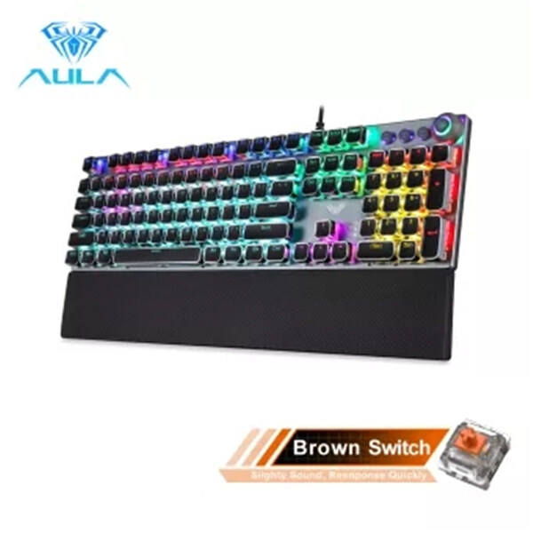 【Ready Stock】high quality Official Original  AULA F2088/F2058 Mechanical Gaming Keyboard Detachable wrist rest Multimedia Knob 104 Keys Anti-ghosting Marco Programming metal panel LED Backlit keyboard for PC Gamer (Punk keycap) Singapore