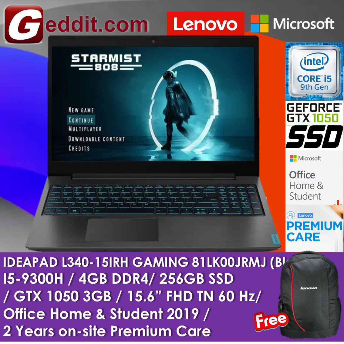 LENOVO GAMING LAPTOP L340-15IRH 81LK00JRMJ (i5-9300H,4GB,256GB SSD,15.6  FULL-HD TN,GTX1050 3GB,WIN10,PRE-INSTALLED OFFICE H&S) FREE LENOVO  BACKPACK Malaysia