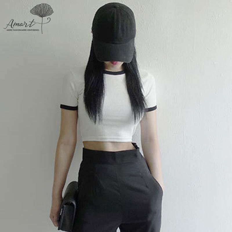 def15c351 Amart Women Summer Crop Tops Skinny Slim Fit Short Sleeves Round Neck  Pullover T-shirts