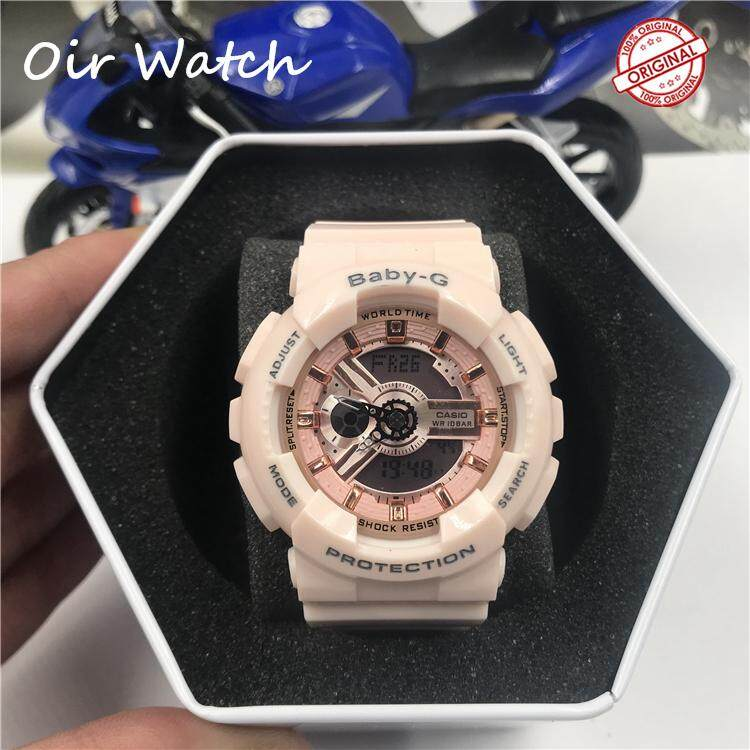 (Ready stock) Original Casio_Baby G BA-110  Womens Digital Sport Watch Deep Shockproof and Waterproof Translucent Resin Strap Watches for women With 2 Years Warranty BA110 (Pink) Malaysia