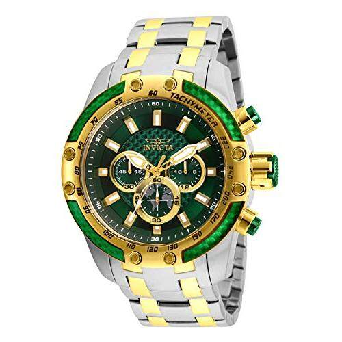 Invicta Mens Speedway Stainless Steel Quartz Analog Display Chronograph Watch, Green/Blue Dial, Two Tone Bracelet Malaysia