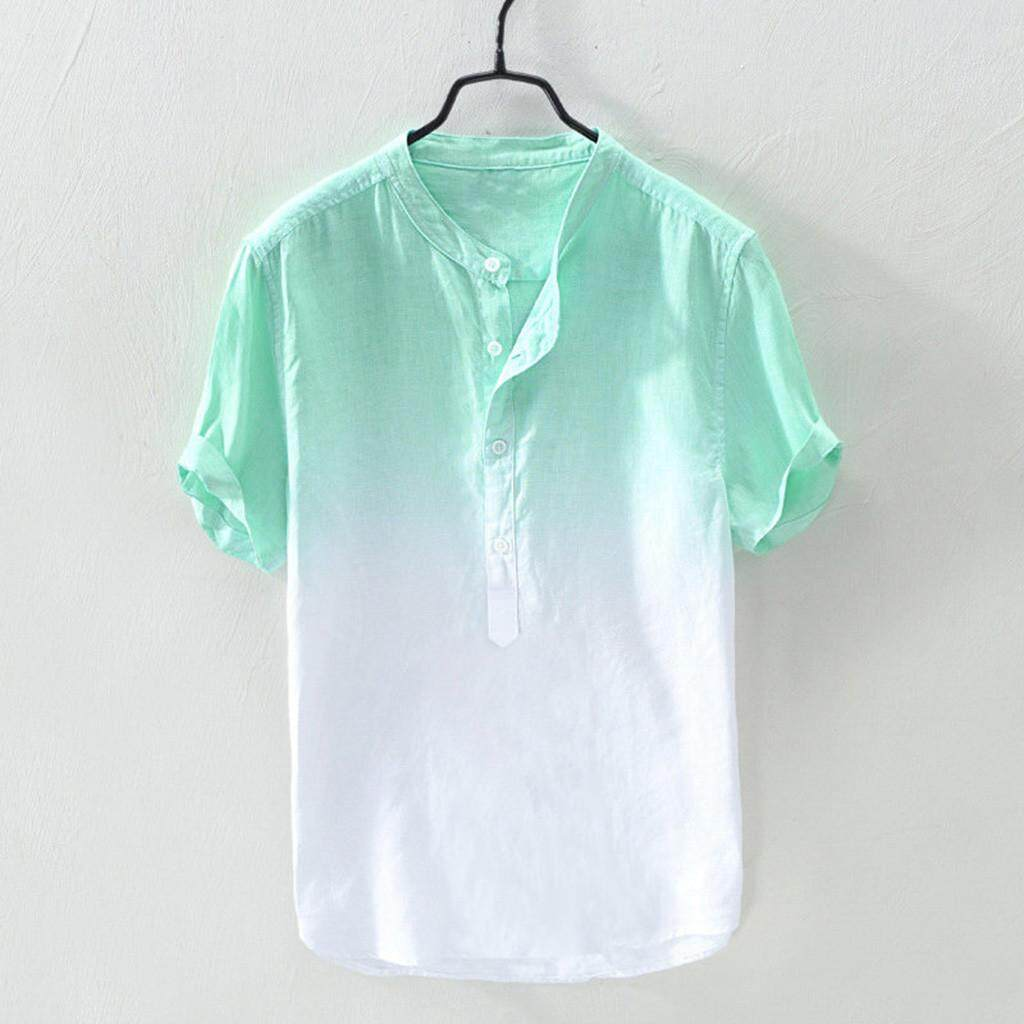 92140a6dc Echomenshop Summer Men's Cool And Thin Breathable Collar Hanging Dyed  Gradient Cotton Shirt
