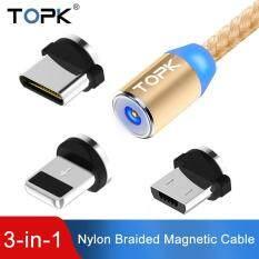 TOPK dây cáp sạc xịn 1m thông minh 3 trong 1 cho điện thoại Iphone và Samsung