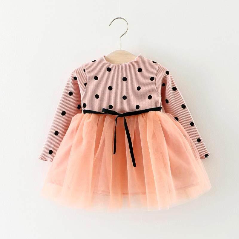 461ccce6d5e28 Princess Long Sleeve Baby Girl Dress Newborn Infant Baby Girl Clothes Bow  Dot Tutu Ball Gown