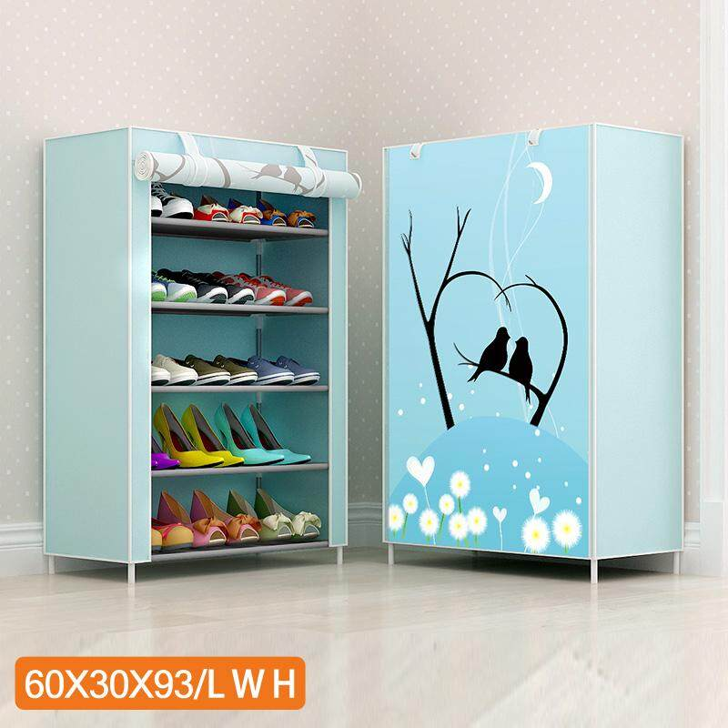 RuYiYu - 5-Tier Shoe Rack with Dustproof Cover Closet Shoe Storage Cabinet Organizer, 15 Pair of Shoes